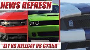 chevy camaro zl1 vs z28 ford shelby gt350 mustang vs dodge challenger srt hellcat vs