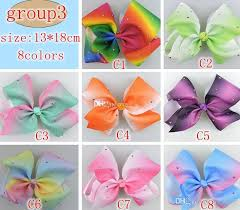 ribbon hair bow jojo hair bow 7inch 5inch large rhinestone rainbow