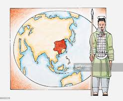 Ancient China Map Illustration Of Ancient Chinese Warrior In Front Of A Map Of China