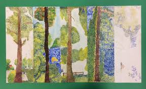y8 pointillist landscape frieze created as a final piece for the