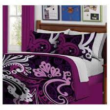 Teen Queen Bedding Kreative Kids Black U0026 Purple Bold Teen Girls Queen Comforter Set
