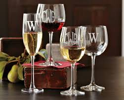 wine glass gifts monogrammed white wine glasses set of 4 williams sonoma