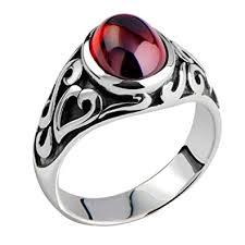 men vintage rings images Metjakt men 39 s vintage thai silver garnet vampire rings hand jpg