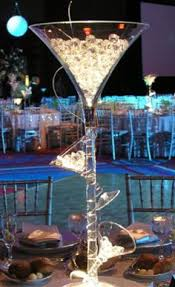 Tall Champagne Glass Vases Crystal Vine Around Large Martini Glass Filled With Water Beads