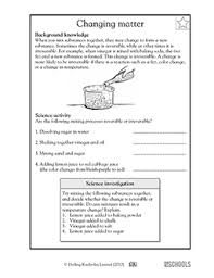 5th grade science worksheets reversible and irreversible changes
