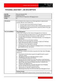 Personal Assistant Responsibilities Resume Assistant Director Job Description Job Brief Assistant Director