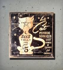 le cat psychic services wood sign home decor u0026 lighting old