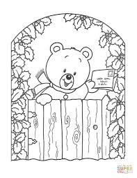 teddy bear christmas greeting card coloring free