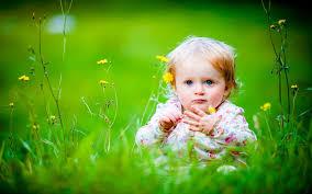 cute baby blue eyes baby siting green land hd wallpaper