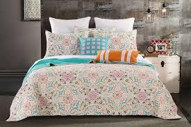 elegant medallion bedding teal aqua blue u0026 cream quilt set twin