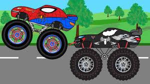 monster truck childrens video venom truck vs spiderman monster trucks for kids children video