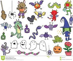 free halloween icon assortment of cute halloween cartoon characters and icons royalty