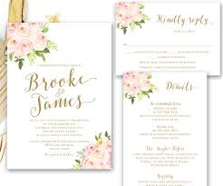 sts for wedding invitations blush pink gold printable floral wedding invitation suite