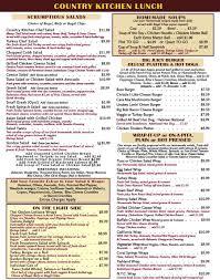 country kitchen menu