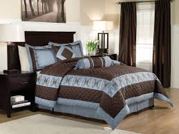 bedroom curtain and bedding sets modern bedroom with peninsula suites lofton blue brown king
