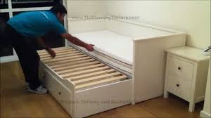 Ikea White Metal Daybed by Ikea Hemnes Day Trundle Bed With 3 Drawers White Youtube