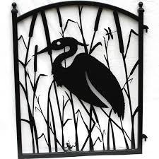 garden fence gate heron metal ornamental iron modern iron works