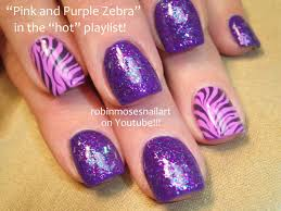 best zebra print nail art ideas pink and purple glitter idolza