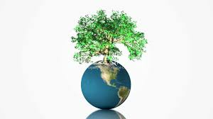 earth globe spinning with growing tree royalty free and