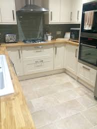 burford cream kitchen from howdens oak worktops sage tiles with
