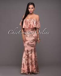 gold maxi dress pascha gold sequins salmon the shoulder maxi dress