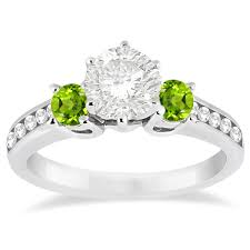peridot engagement rings three peridot diamond engagement ring 14k white gold 0 45ct