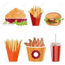 food vector fried chicken fries and burger fast food vector illustration