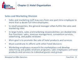 Front Desk Hotel Responsibilities Chapter 2 Hotel Organization