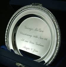 engraved silver platter silver plated 4 inch plate salver personalised engraved