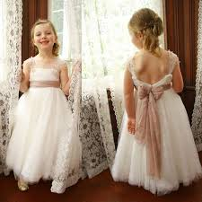 ivory lace tulle a line little dresses lovely flower