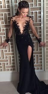 black long sleeve evening dress 2017 appliques front split