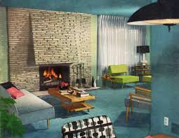 mid century modern living room with fireplace sloped ceiling cabin