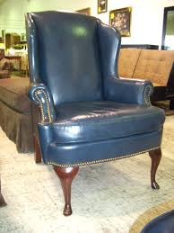 chairs compact wonderful leather wingback chair in blue with