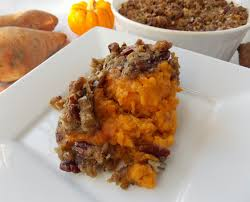mystery kitchen sweet potato casserole with pecan topping