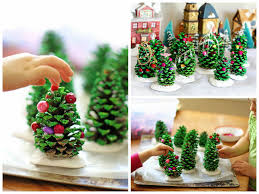 christmas trees with pine cones christmas lights decoration