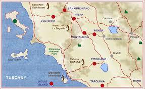 Tuscany Italy Map Tuscany Golf Tour