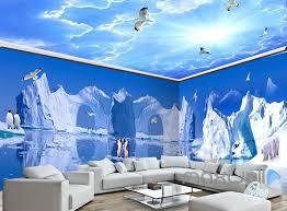 wallpaper for entire wall 3d iceberg penguin blue sky ceiling entire living room wallpaper