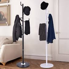 black or white free standing metal coat stand rack clothes hanger