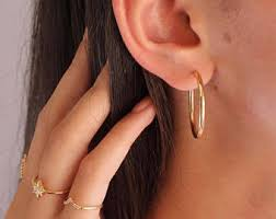 invisible earrings for school thin hoop earrings etsy