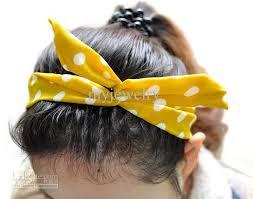 hair bow tie women rabbit ear hair bow tie band japan korean chiffon ponytail