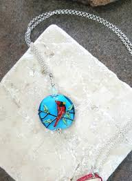 art glass necklace pendant images Red cardinal art glass necklace sterling silver handcrafted jpg