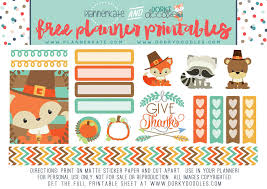 free thanksgiving planner stickers dorky doodles