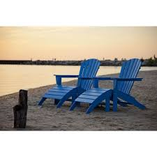 Polywood Long Island Recycled Plastic Polywood South Beach Pacific Blue Plastic Patio Adirondack Chair