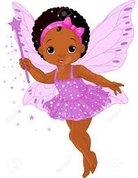 illustration of cute little baby fairy in fly royalty free