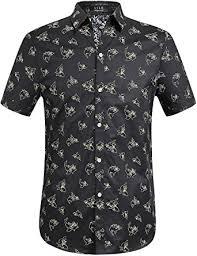 sslr men u0027s shark prints casual button down short sleeve shirts at