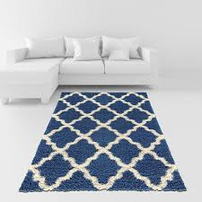 amazon com soft shag area rug 5x7 moroccan trellis blue ivory