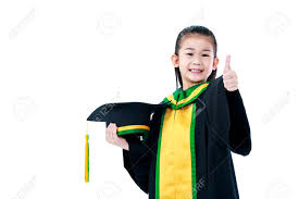 kindergarten cap and gown kindergarten graduation happy asian child in graduation gown