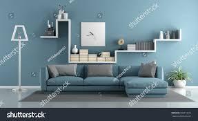 blue living room sofa shelf 3d stock illustration 508713316