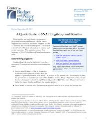a quick guide to snap eligibility and benefits center on budget