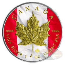Canada Flag Colors 1 Oz 5 Silver Coin Canadian